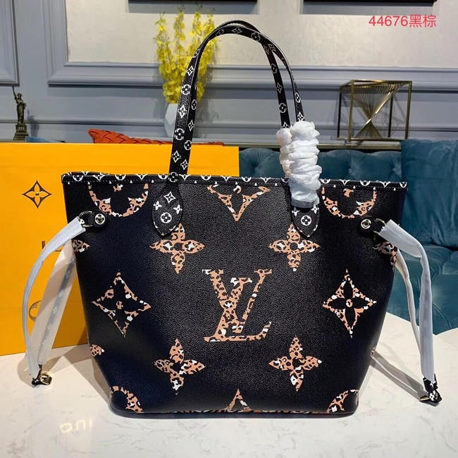 Louis Vuitton Monogram Canvas Original Leather NEVERFULL MM M44567 Black