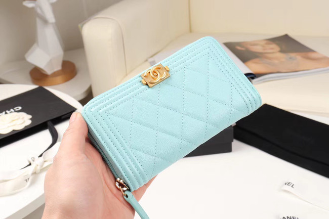Chanel Calfskin Leather & Gold-Tone Metal Wallet A80566 Light Blue