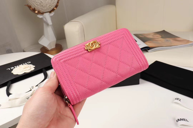 Chanel Calfskin Leather & Gold-Tone Metal Wallet A80566 rose