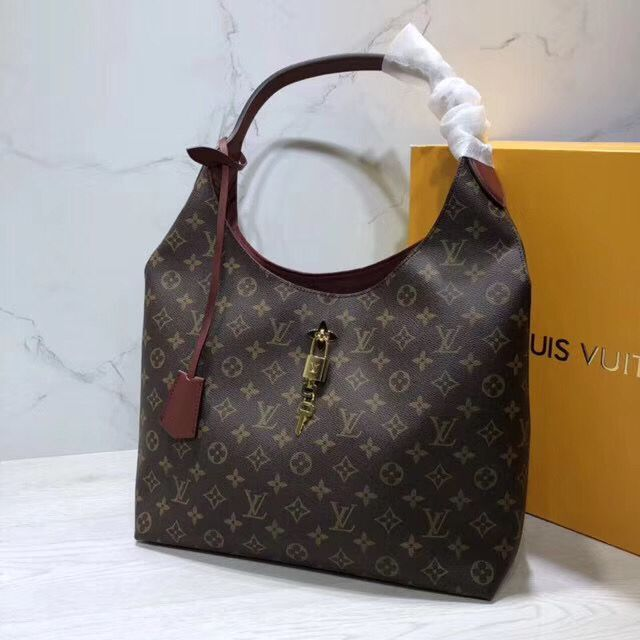 Louis Vuitton Monogram Canvas Flower Hobo Original Leather Bag M43547 Caramel