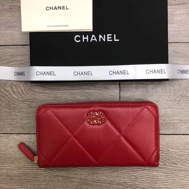 Chanel sheepskin & Gold-Tone Metal Wallet A6870 red