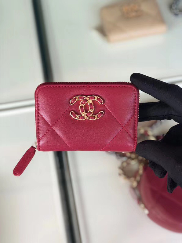 Chanel 19 Zip Card bag AP0949 rose