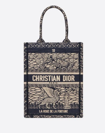 SUN VERTICAL DIOR BOOK TOTE TAROT EMBROIDERED CANVAS BAG M1272Z-4