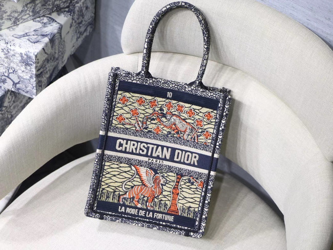 SUN VERTICAL DIOR BOOK TOTE TAROT EMBROIDERED CANVAS BAG M1272Z-6