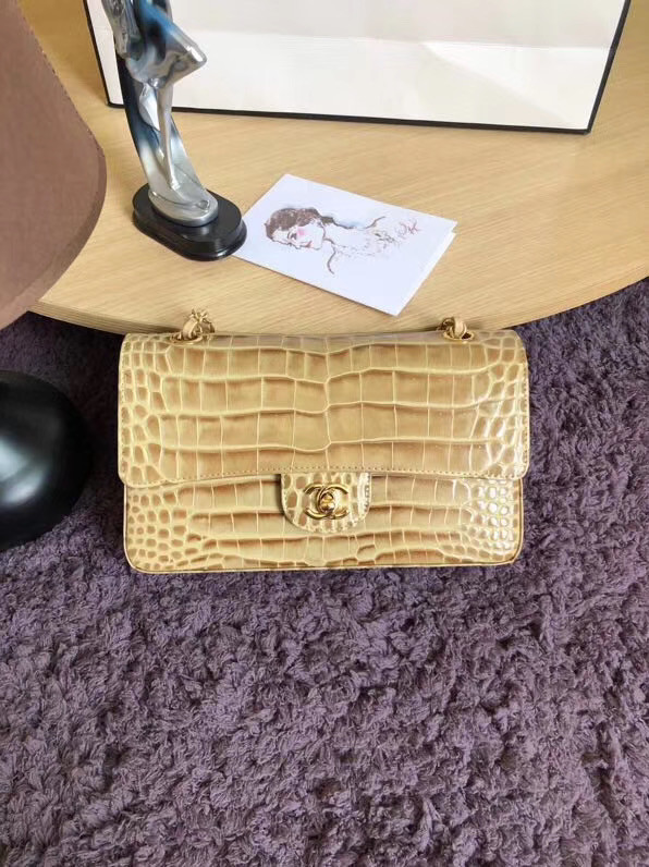 Chanel Classic Flap Bag Original Alligator & Gold-Tone Metal A01112 apricot