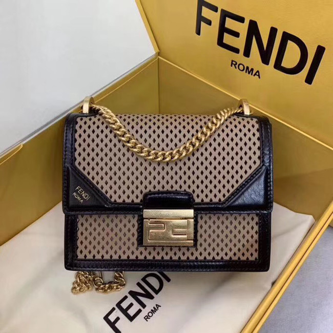 Fendi KAN U SMALL leather mini-bag 8BT312 black&apricot