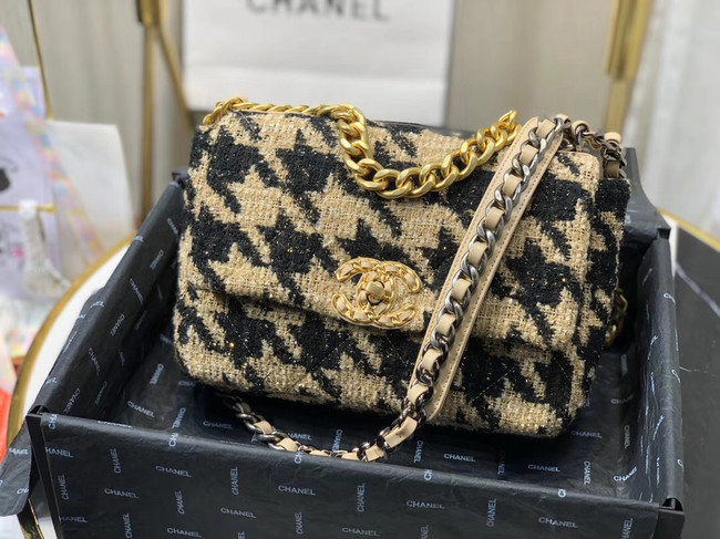 CHANEL 19 Flap Bag AS1160 Black&apricot