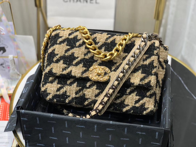 CHANEL 19 Flap Bag AS1161 Black&apricot