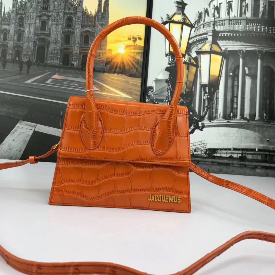 Jacquemus Original Leather Mini Top Handle Bag J8088 Orange