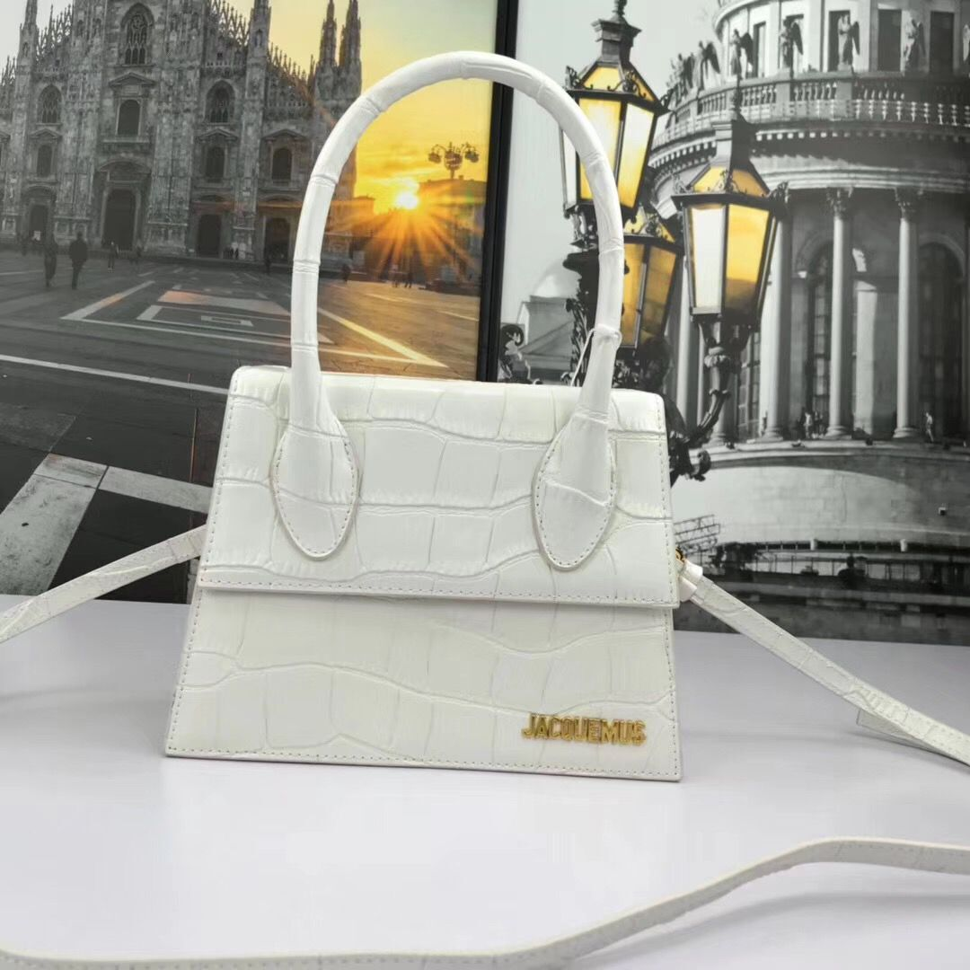 Jacquemus Original Leather Mini Top Handle Bag J8088 White