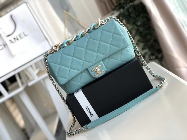 Chanel Lambskin Flap Bag &gold-Tone Metal AS1353 light blue