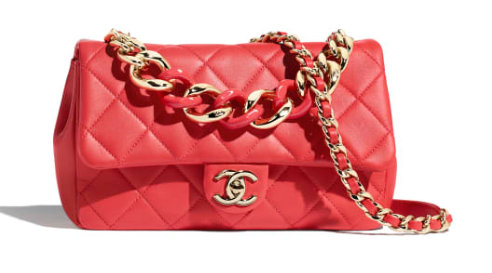 Chanel Lambskin Flap Bag &gold-Tone Metal AS1353 red