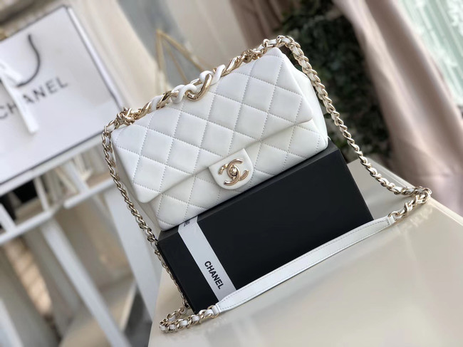 Chanel Lambskin Flap Bag &gold-Tone Metal AS1353 white