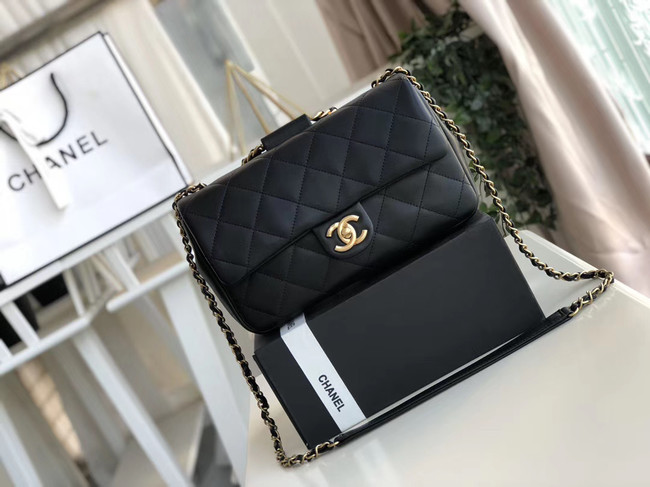 Chanel flap bag Lambskin & Gold Metal AS1358 black