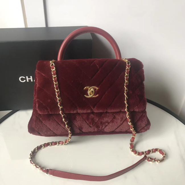 Chanel flap bag with top handle A92991 Burgundy