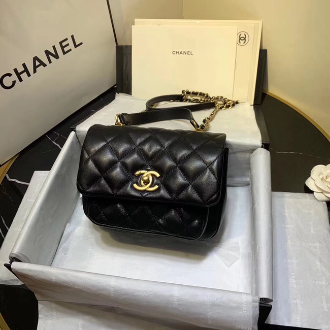 Chanel flap bag Grained Calfskin & Gold-Tone Metal AS1155 black