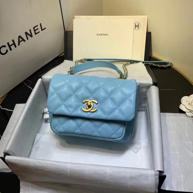 Chanel flap bag Grained Calfskin & Gold-Tone Metal AS1155 light blue
