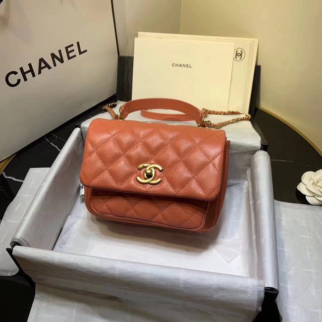 Chanel flap bag Grained Calfskin & Gold-Tone Metal AS1155 orange
