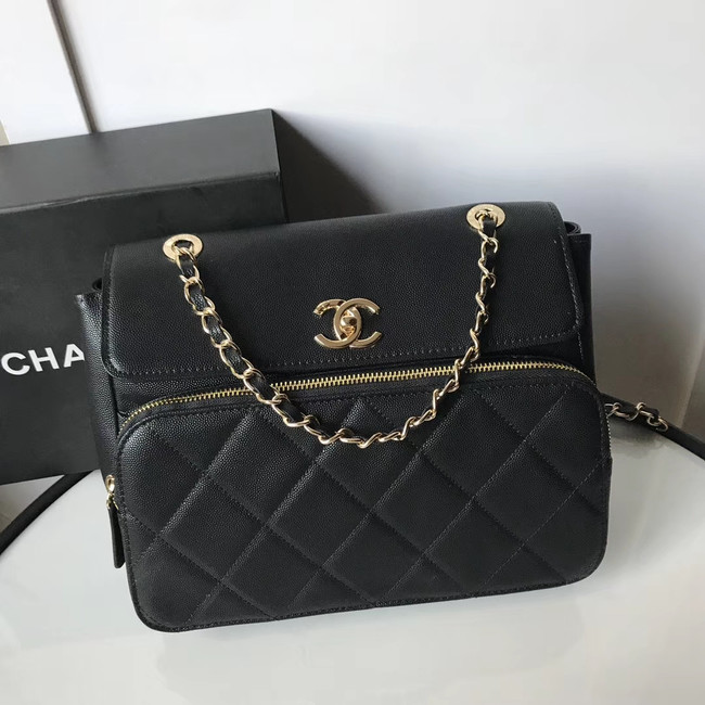 Chanel flap bag Grained Calfskin & Gold-Tone Metal AS1199 black