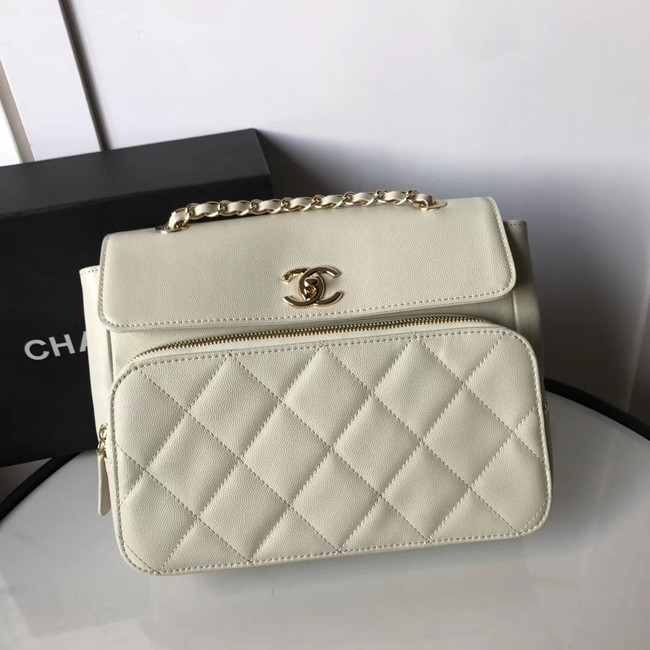 Chanel flap bag Grained Calfskin & Gold-Tone Metal AS1199 white