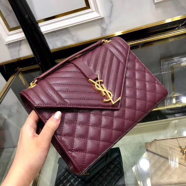 SAINT LAURENT Medium satchel 487206 Burgundy