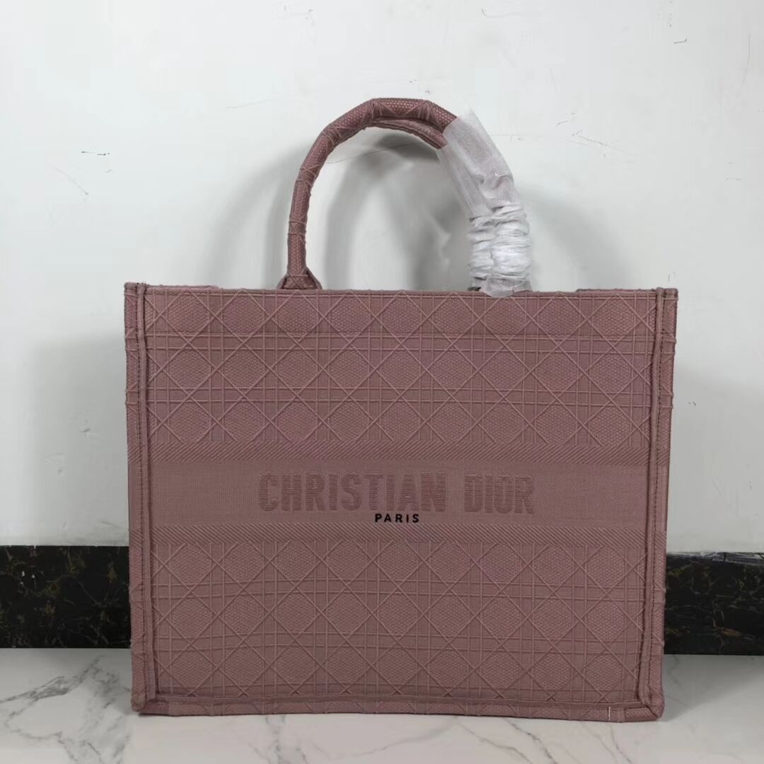 DIOR BOOK TOTE BAG IN EMBROIDERED CANVAS C1286 pink