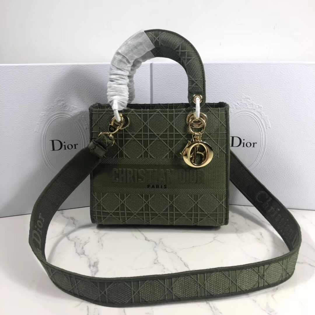 LADY DIOR TOTE BAG IN EMBROIDERED CANVAS C4532 Blackish green