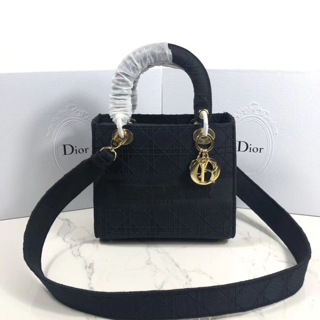 LADY DIOR TOTE BAG IN EMBROIDERED CANVAS C4532 black