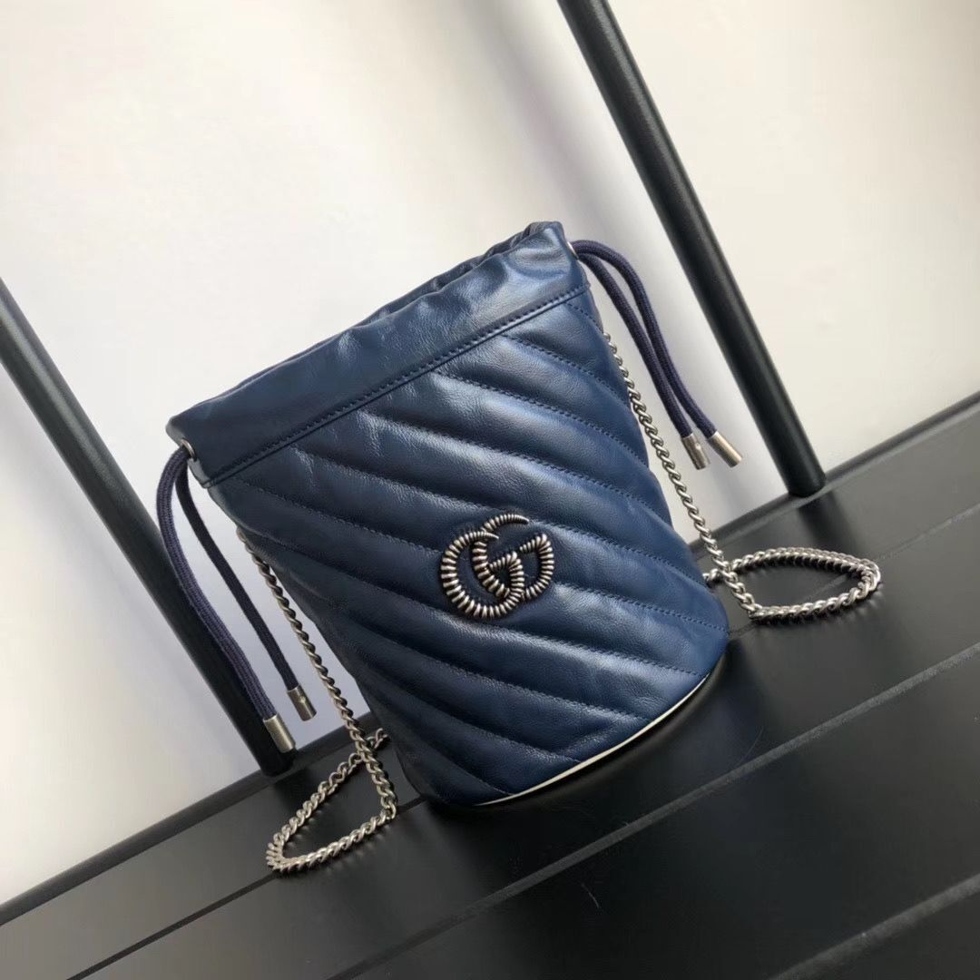 Gucci GG Marmont mini bucket bag A575163 Navy