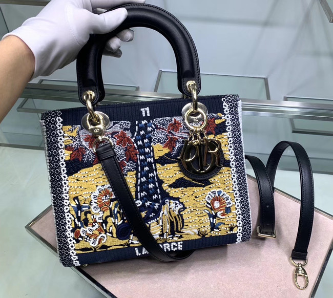 LADY DIOR embroidered cattle leather M0565-3
