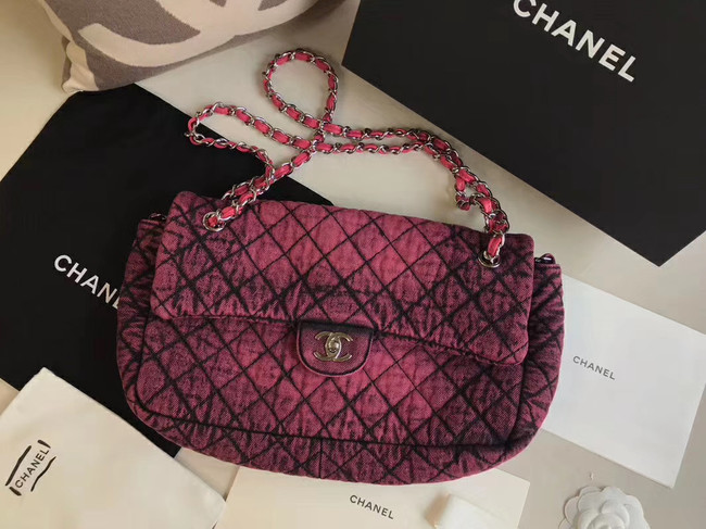 CHANEL Denim flap bag AS1113 red