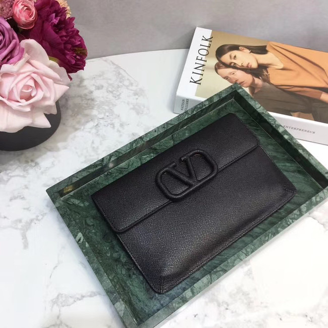 VALENTINO Origianl leather 065 Clutch bag black