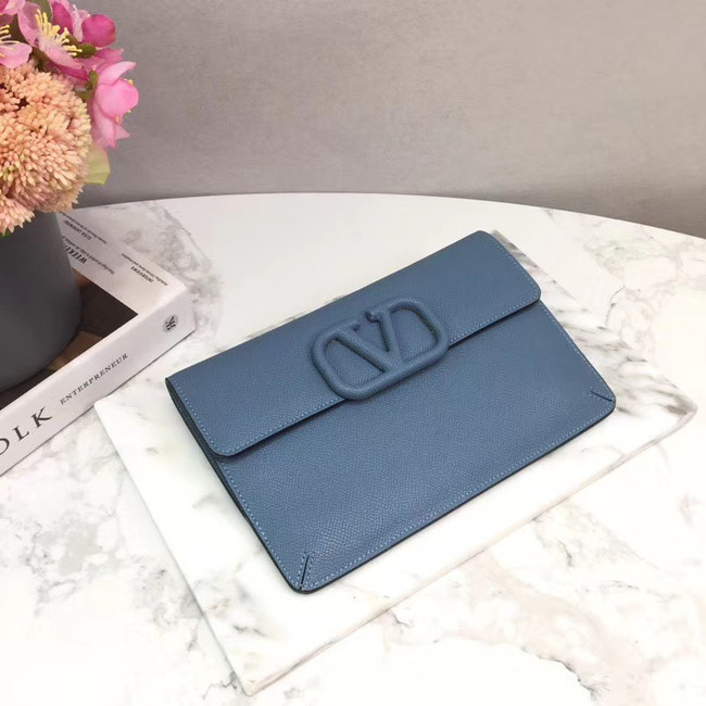VALENTINO Origianl leather 065 Clutch bag blue
