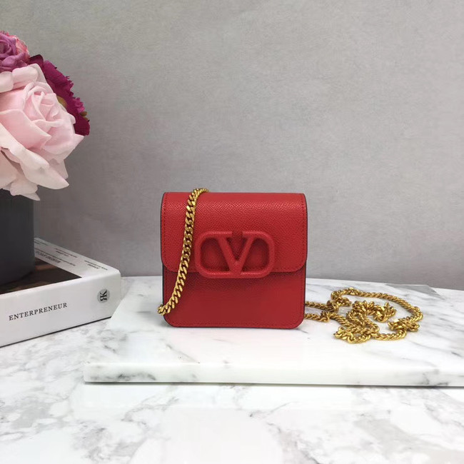 VALENTINO Origianl leather 067 Chain bag red