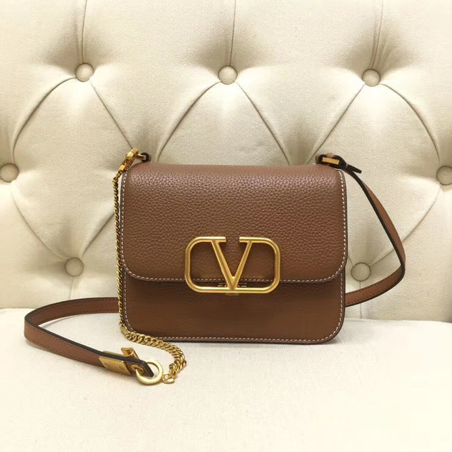 VALENTINO VLOCK Origianl leather shoulder bag 0905 brown