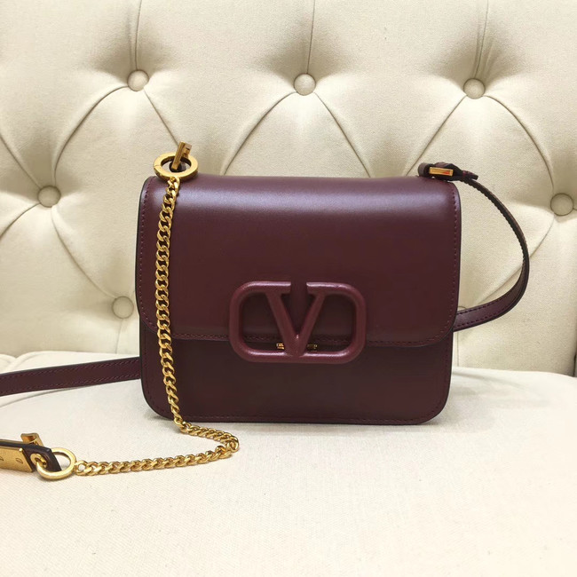 VALENTINO VLOCK Origianl leather shoulder bag 0906 Burgundy