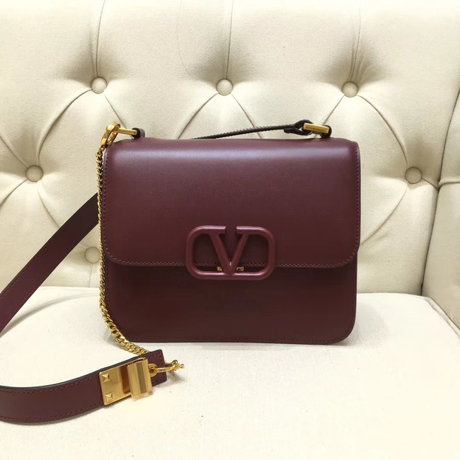 VALENTINO VLOCK Origianl leather shoulder bag 0908 Burgundy
