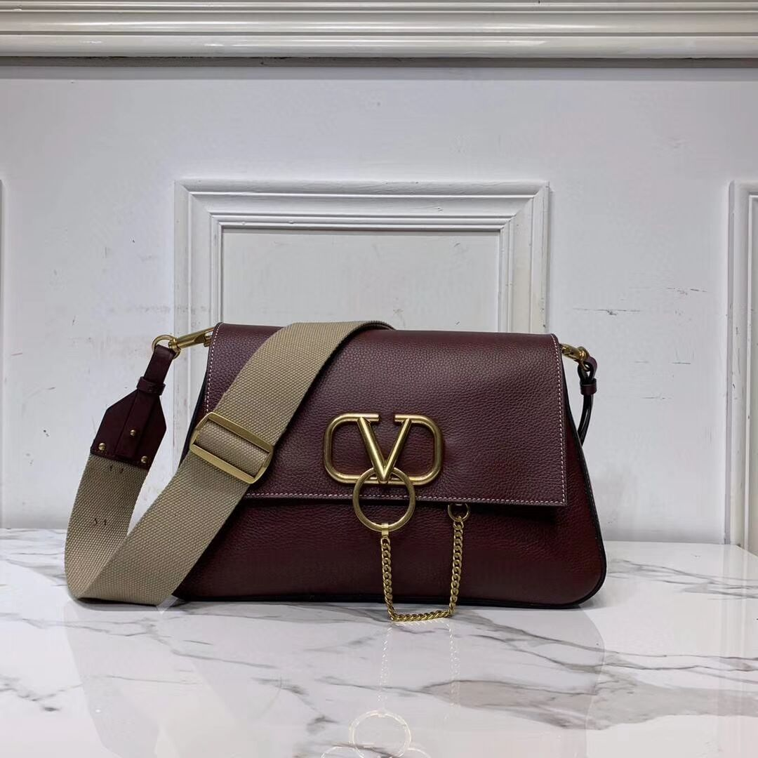 VALENTINO Origianl leather shoulder bag V0888 Burgundy