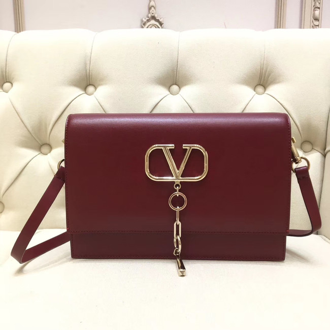 VALENTINO VLOCK Origianl leather shoulder bag 0909 Burgundy