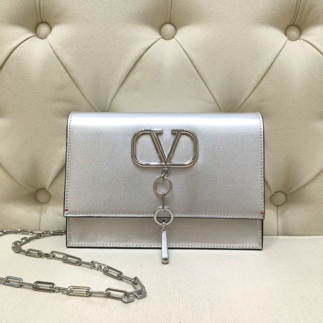 VALENTINO VLOCK Origianl leather shoulder bag 0910 silver