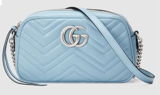 Gucci GG Marmont Matelasse Shoulder Bag 447632 Pastel blue