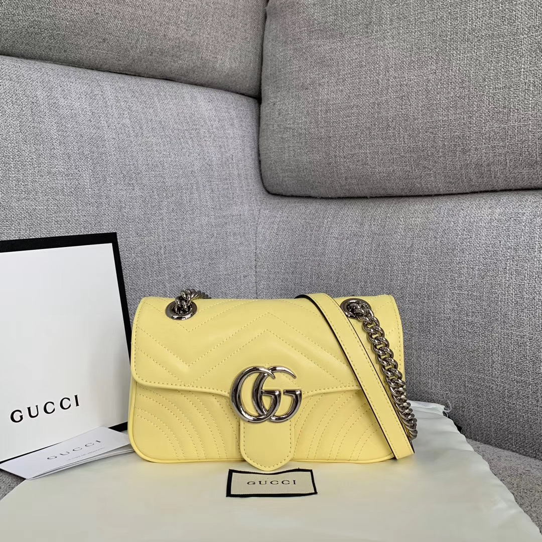 Gucci GG Marmont small shoulder bag 446744 yellow