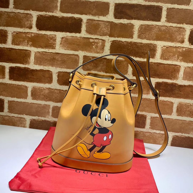 Gucci Disney x Mickey Mouse Small Bucket Bag 602692 Brown