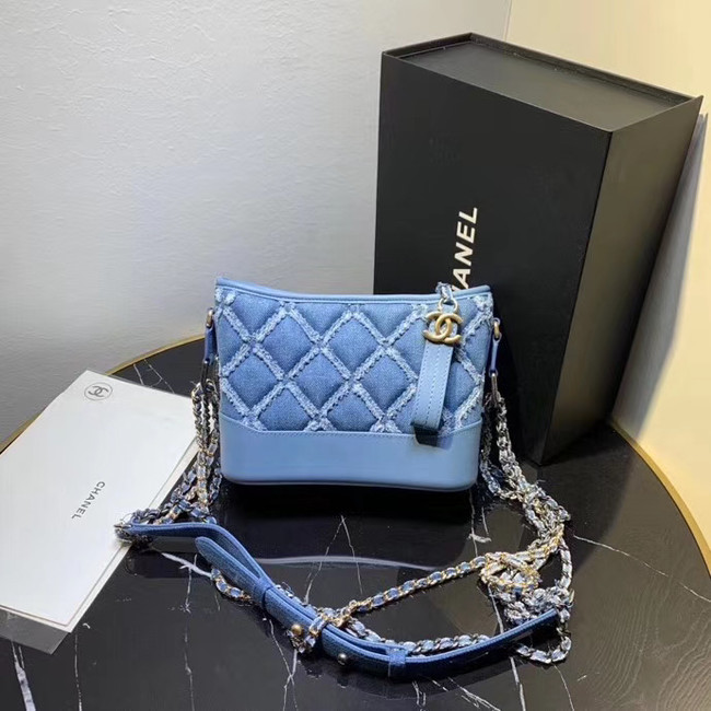 Chanel gabrielle small hobo Denim bag A91810 light blue