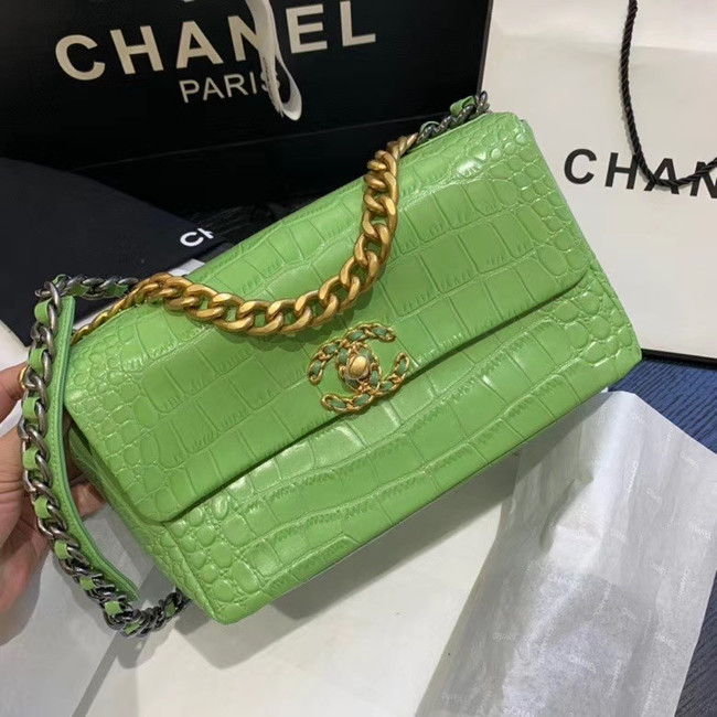 CHANEL 19 Flap Bag Crocodile Leather AS1160 green