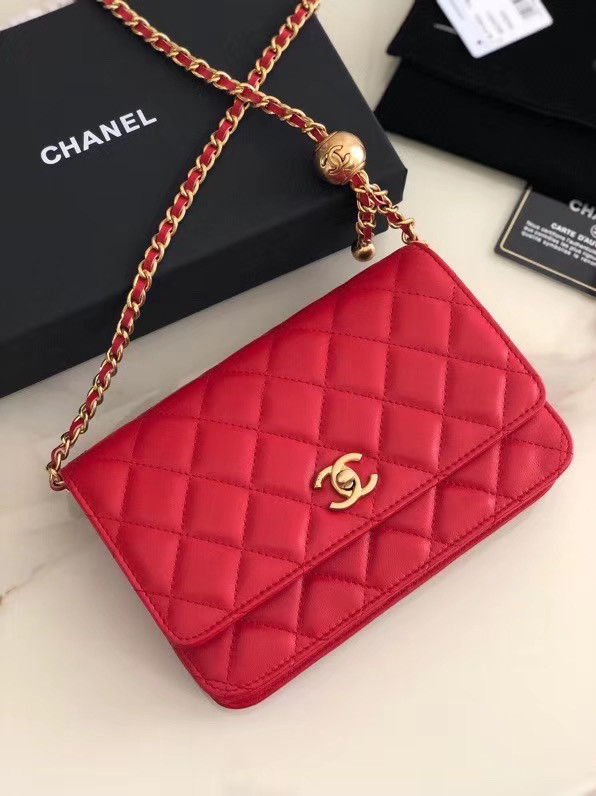 Chanel Original Small classic Sheepskin flap bag AS33814 red