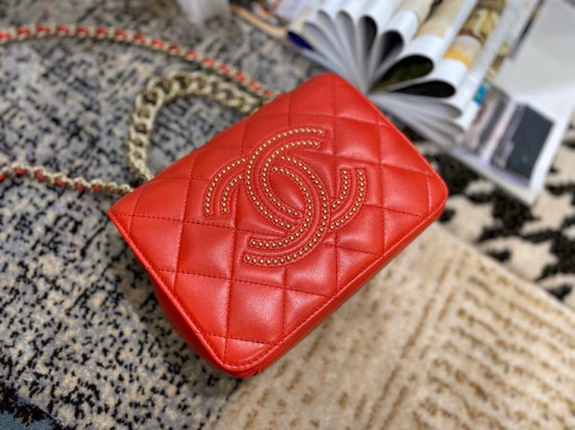 Chanel Lambskin flap bag AS1514 red