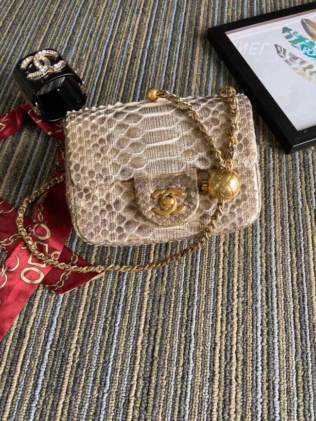 Chanel Original Small Snake skin flap bag AS1115 apricot