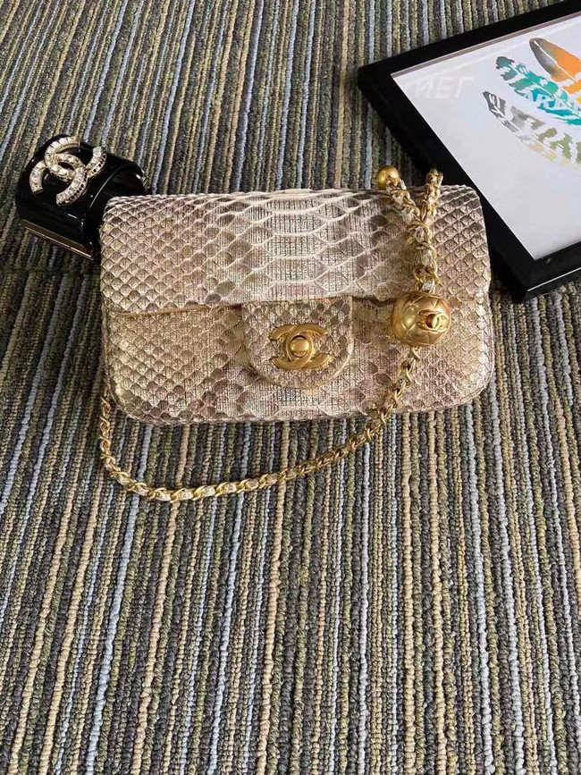 Chanel Original Small Snake skin flap bag AS1116 apricot