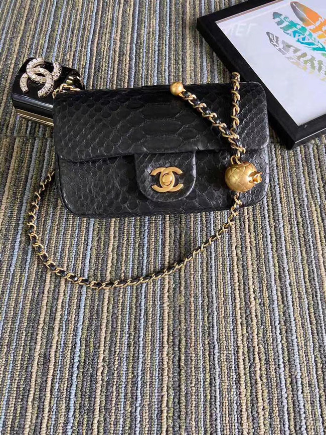 Chanel Original Small Snake skin flap bag AS1116 black